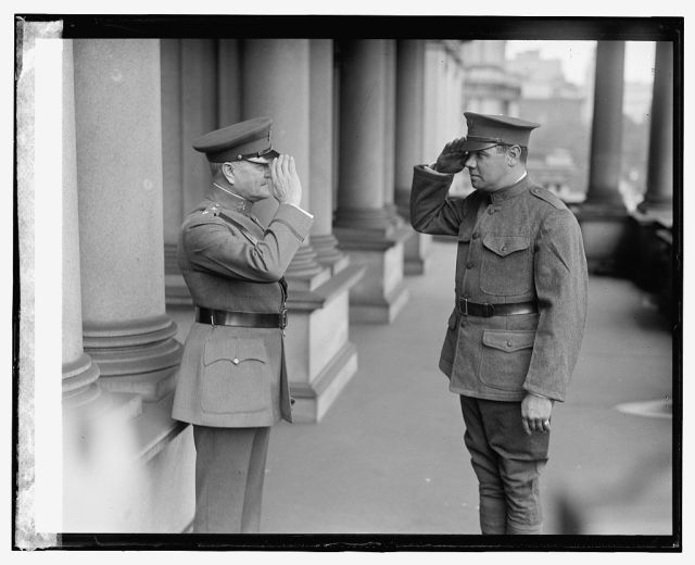 Private Ruth renders General Pershing a smart salute (Library of Congress)