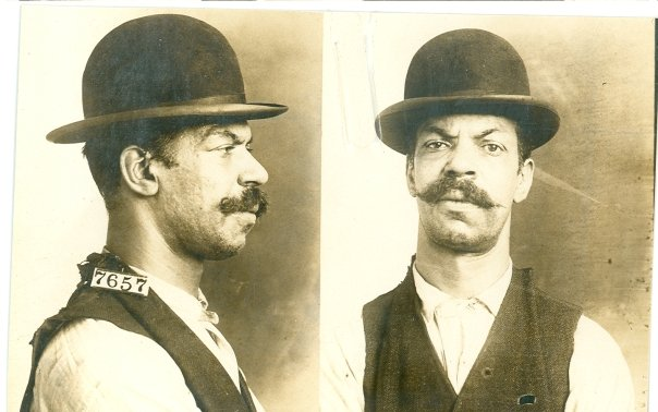 "Charles Davis, #7657. Davis was sentenced to three years for housebreaking in 1911. When asked about his crime, he replied, ""I was charged with breaking a pane of glass in the Levi's store in Washington, D.C. and taking a suit of clothes to which I pleaded not guilty. I was drunk at the time this crime was committed and was not aware I had committed a crime."" RG 129, National Archives at Kansas City."