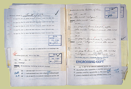 "Copy of HR 7152 showing amendments adding ""sex"" to the 1964 Civil Rights bill."