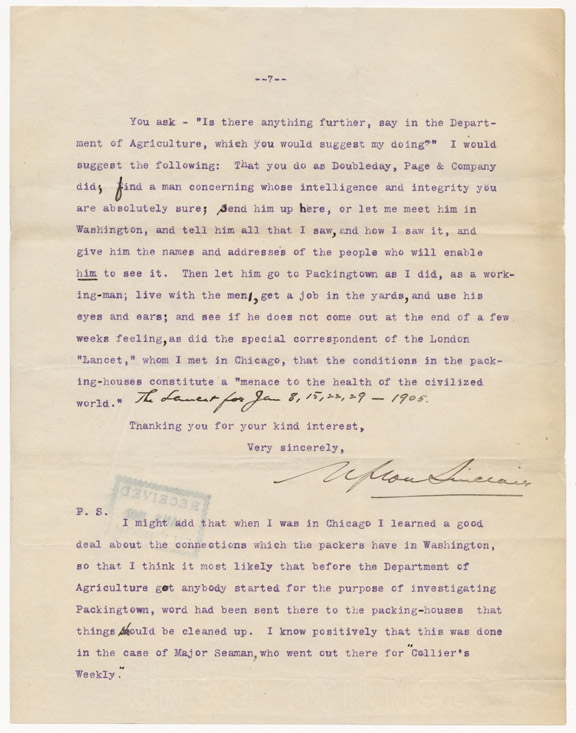 Final page of a letter from Upton Sinclair to President Teddy Roosevelt (Records of the Office of the Secretary of Agriculture)