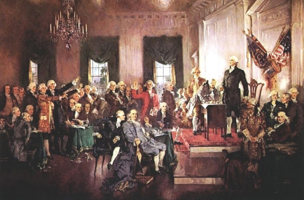 The Scene at the Signing of the Constitution, oil painting (reproduction) by Howard Chandler Christy, 1940