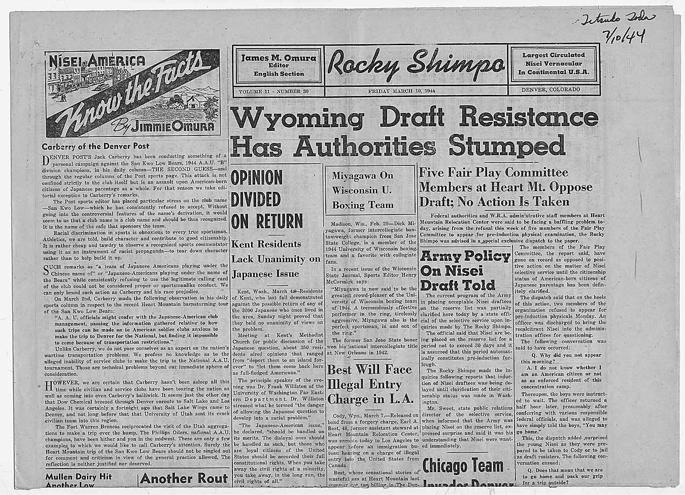 Newspaper article from rocky shimpo wyoming draft resistance has
