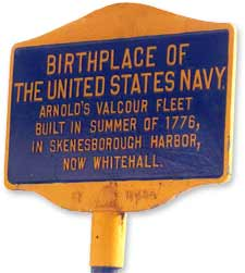 "Sign advertising Whitehall, New York, as the ""birthplace of the United States Navy"" (Whitehall Chamber of Commerce)"