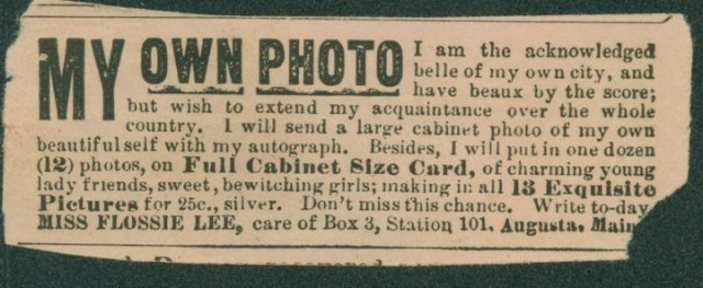 "An advertisement for pictures of Flossie's ""charming young lady friends."" This ad appeared in the National Police Gazette. Record Group 118, Records of the US Marshal"
