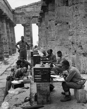 Soldiers at work in the Temple of Neptune at Paestrum. National Archives, Record Group 239.