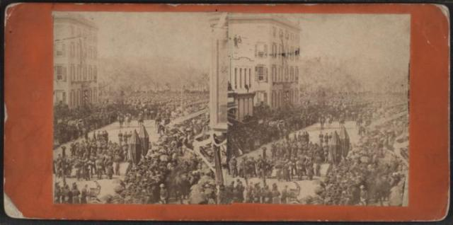 Lincoln's funeral procession passing the Roosevelt Mansion in New York City (Courtesy New York Public Library)