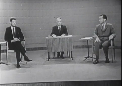 A screenshot from the Nixon/Kennedy Presidential debates (JFK Presidential Library)