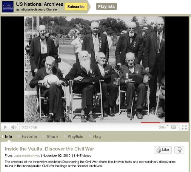 "Civil War veterans at the Blue and Grey Reunion. This is a screen from the ""Inside the Vaults"" video short."