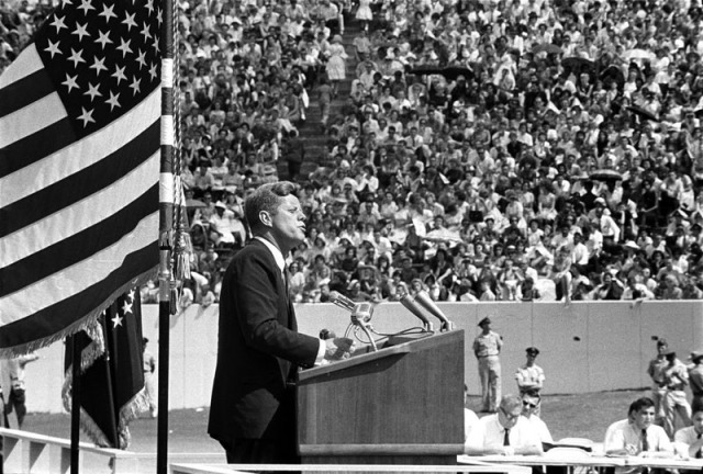 "President Kennedy speaking at Rice University on September 12, 1962. In this speech he stated stated, ""We choose to go to the Moon in this decade and do the other things, not because they are easy, but because they are hard."" (Kennedy Library)"