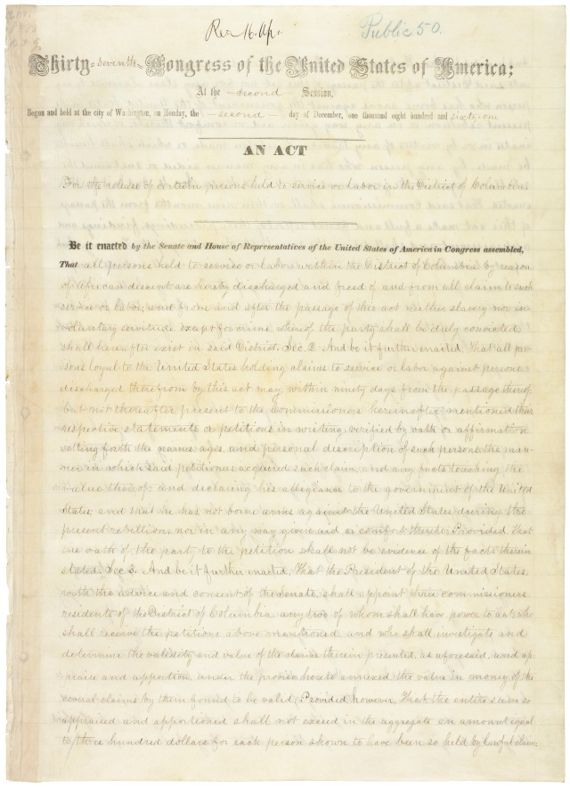 D.C. Emancipation Act, Public Law 37-50, April 16,1862