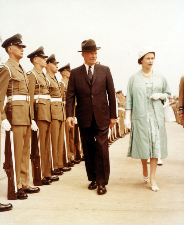 President Eisenhower with Queen Elizabeth II at the dedication and formal opening of the St. Lawrence Seaway, June 26, 1959. Eisenhower Presidential Library.