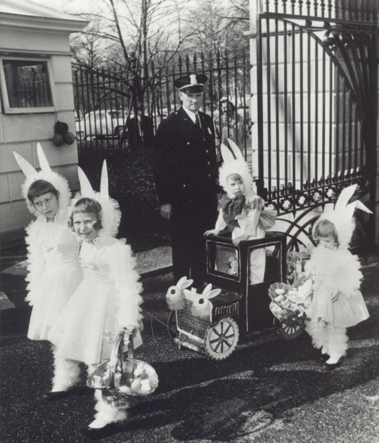 In 1958 Bunny, Hazel, Fred (Skippy), and Darlene Johansen attend the Eisenhowers' White House Easter Egg Roll. (Eisenhower Library)