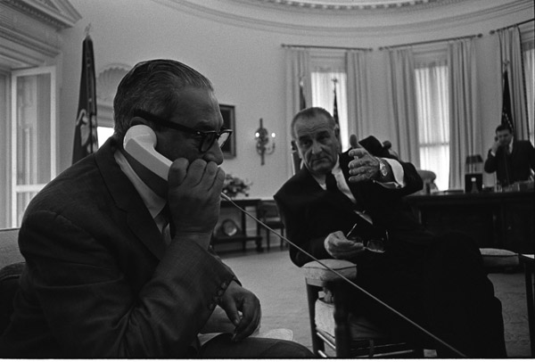 Photograph of President Lyndon B. Johnson Meeting with Thurgood Marshall, 06/13/1967 (ARC 2803439)