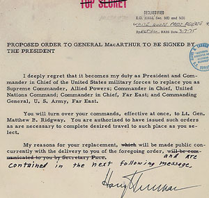 Proposed orders to dismiss Gen. Douglas MacArthur, April 11, 1951 (Truman Library; ARC 201516)