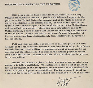 Proposed statement on the dismissal of General MacArthur, April 11, 1951. (Truman Library; ARC 201516)