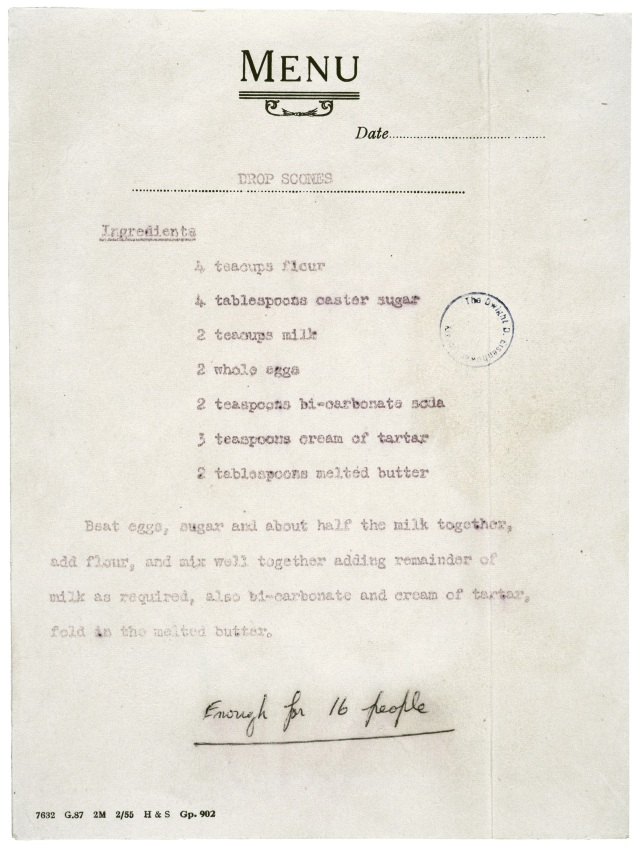 Recipe from Queen Elizabeth. The National Archives.