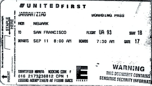 boarding pass for Ziad Jarrah