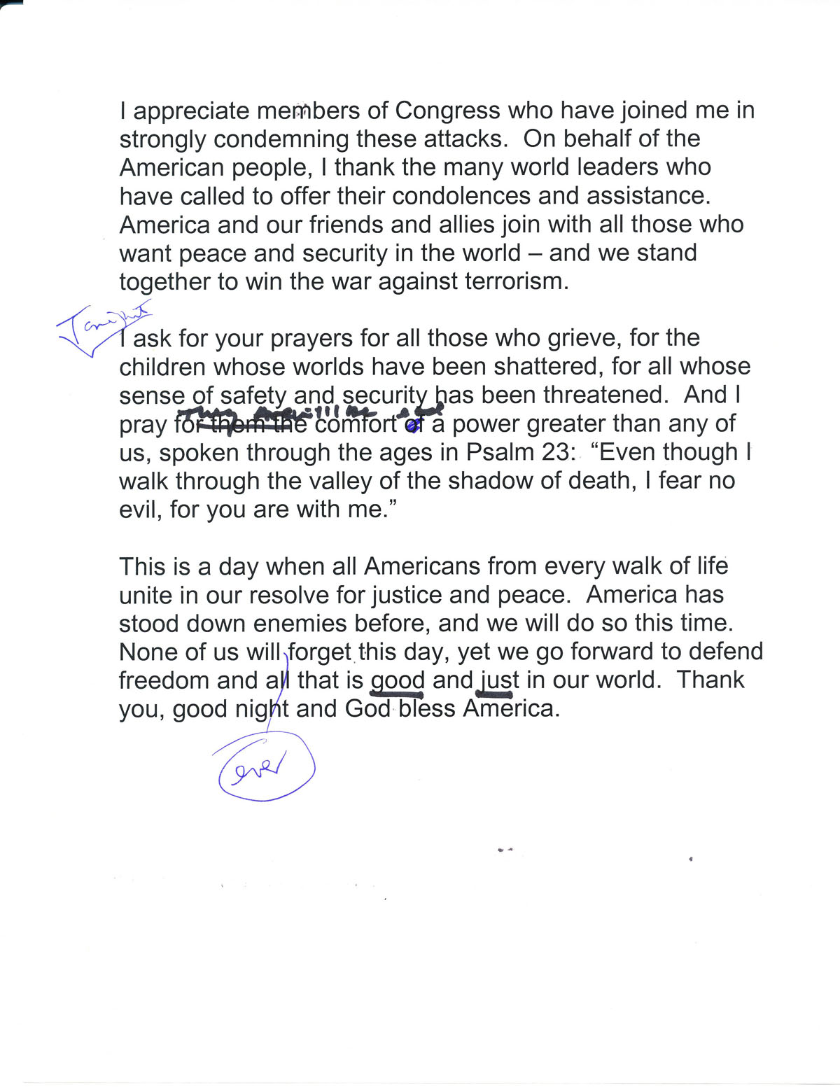 9 11 info speech outlines The text of president bush's address tuesday night, after terrorist attacks on new york and washington.