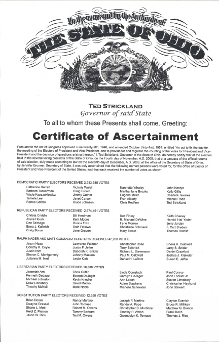 Ohio Certificate of Ascertainment