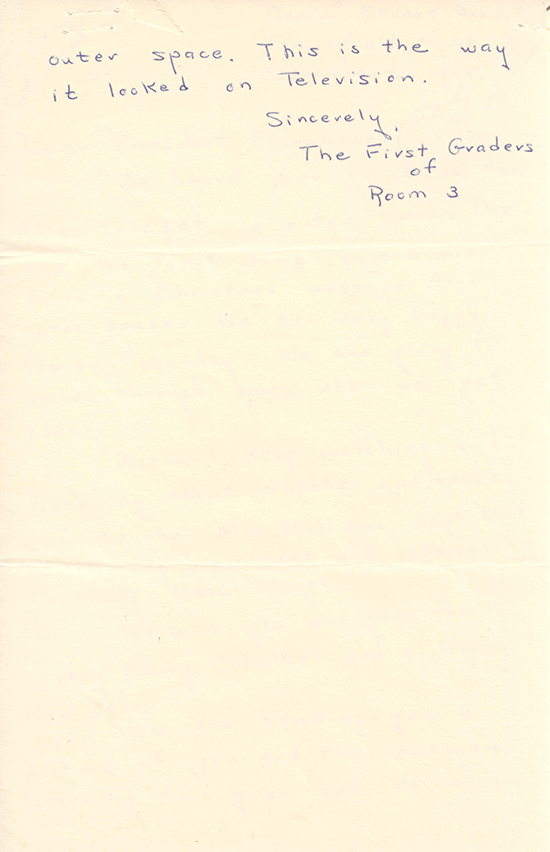 Page 2 of a letter from third-graders in Springfield, MA. Eisenhower Presidential Library