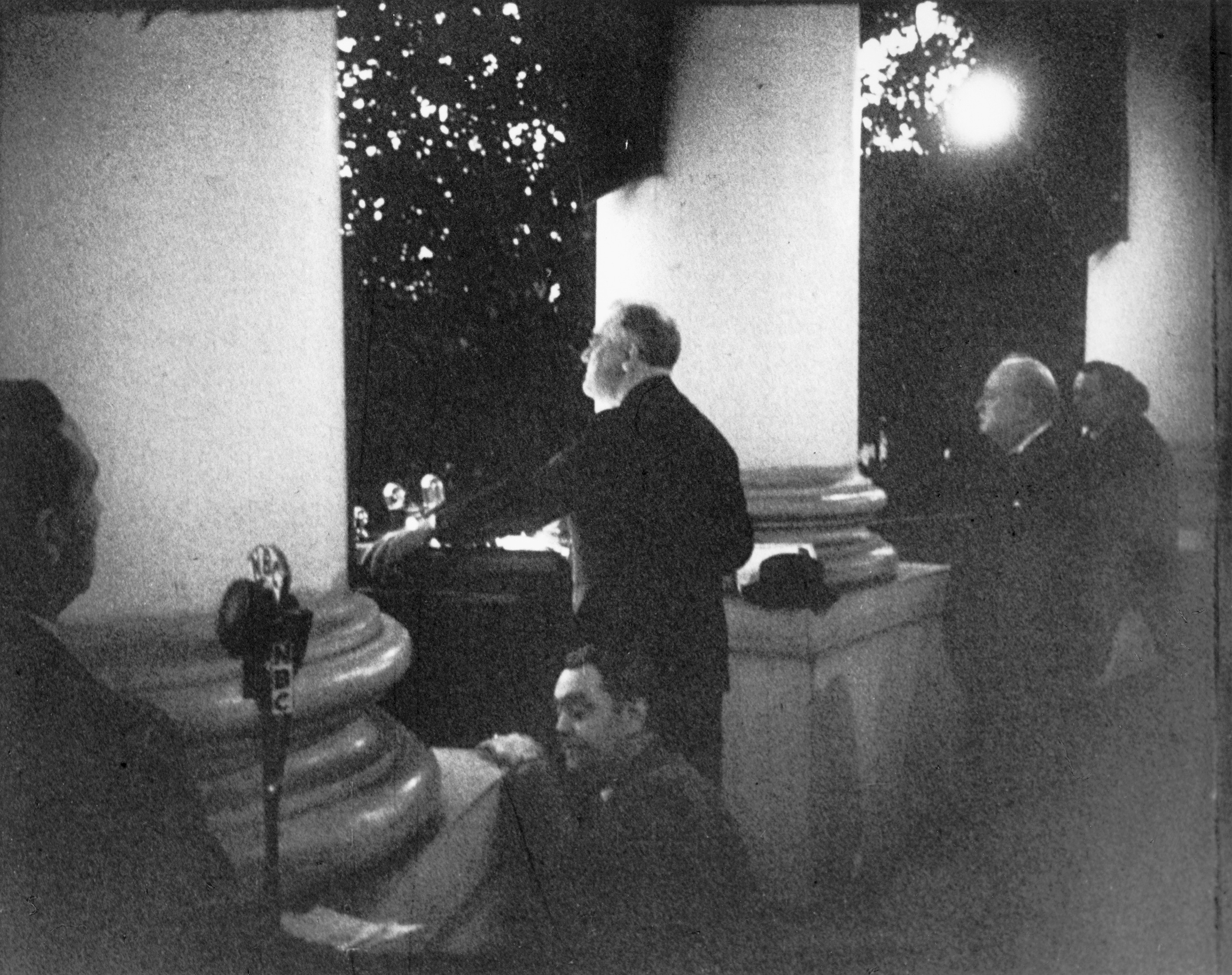 Roosevelt Addresses The Crowd At The Christmas Tree Lighting Ceremony From The White House South Portico On December 24 1941 Churchill Can Be Seen On The