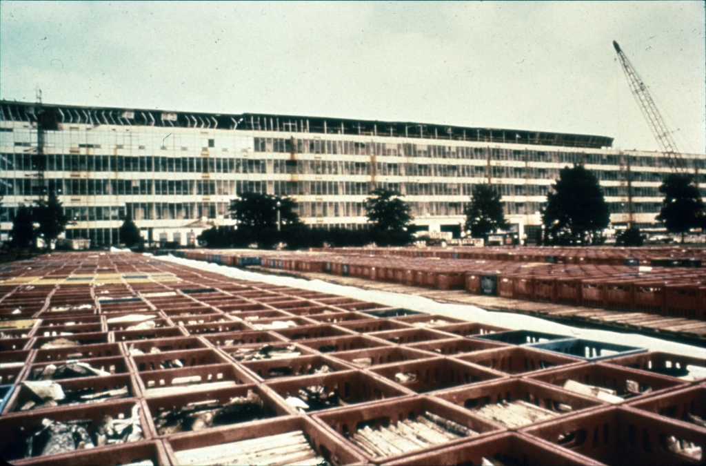 Thousands of milk crates were used to temporarily house recovered records and ship them to the McDonnell Douglas Aircraft Corporation for vacuum drying.