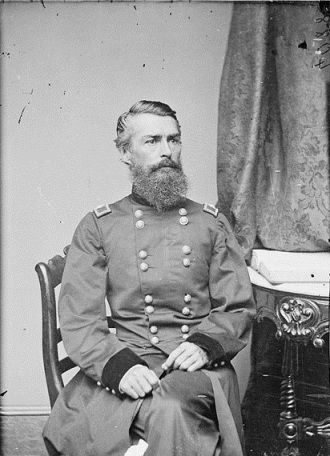 As General McCallum's assistant, Herman Haupt preferred being out in the field, and he worked magic in reconstructing bridges and keeping the trains running on time. (Cropped image,111-B-6161)