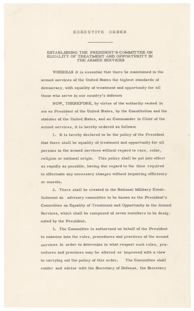 Page one of Executive Order 9981, July 26, 1948