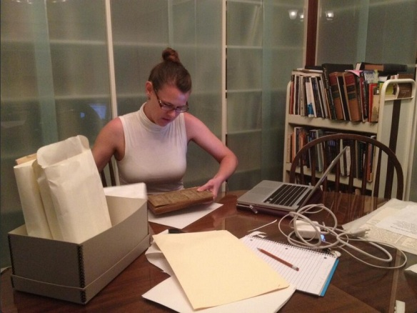 Meris Westberg lends a conserving hand at the DC Historical Society while