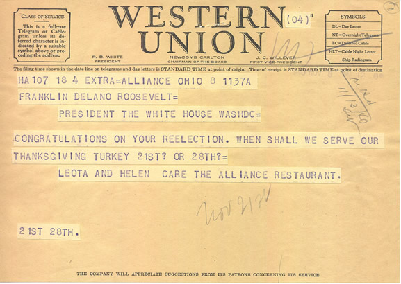 Telegram sent to President Roosevelt from Leota and Helen Care. From the Roosevelt Presidential Library.