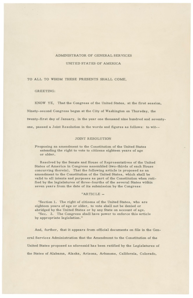 Page one of the 26th Amendment