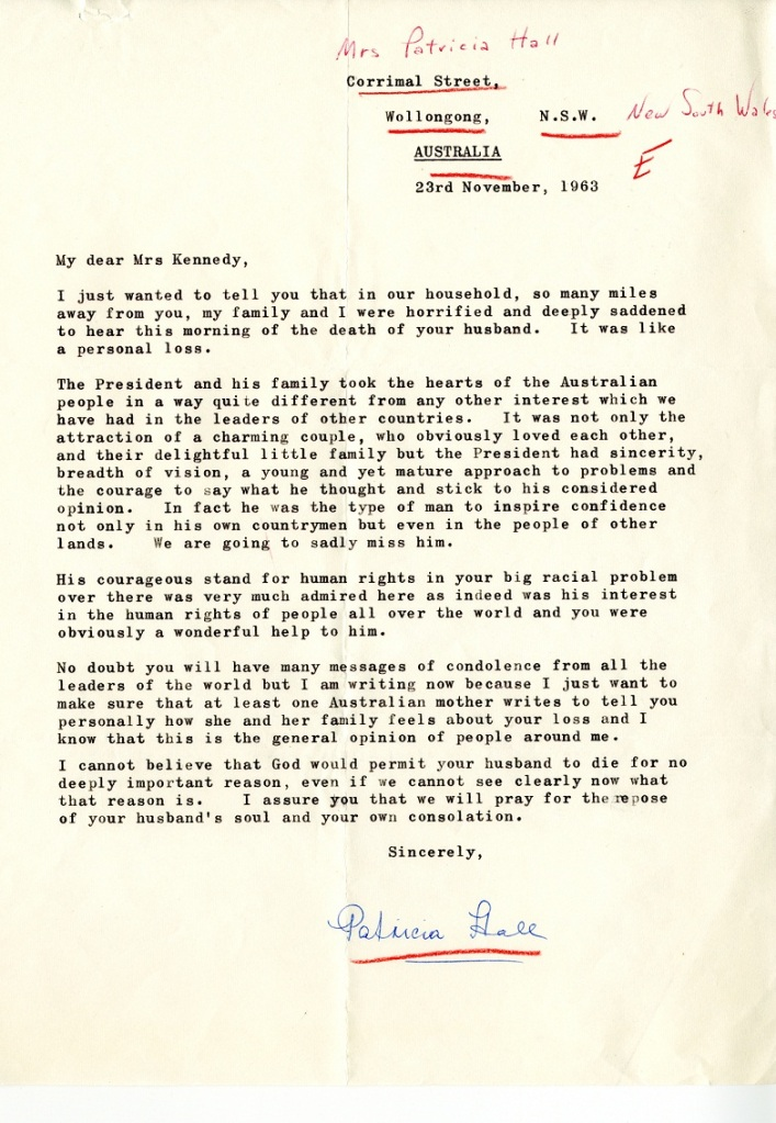 Letter from Patricia Hall to Jacqueline Kennedy, November 23, 1963