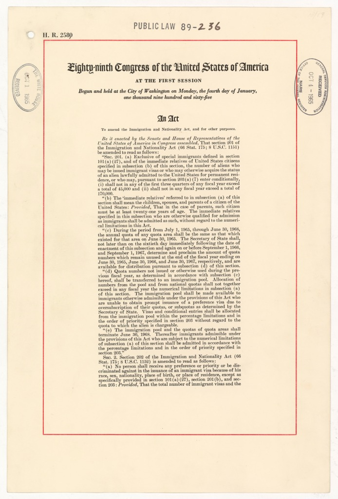 First page of the Immigration Reform Act of 1965