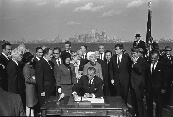 President Lyndon B. Johnson signing the Immigration Act, 10/03/1965