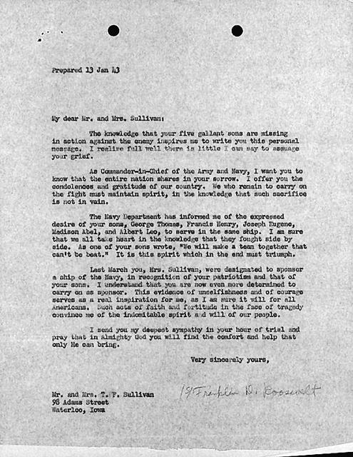 Letter to Mrs. Sullivan from President Roosevelt.