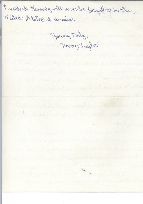Page 2 of a letter from Nancy Taylor to Jacqueline Kennedy, December 1963