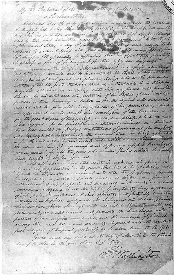 George Washington's October 3, 1789, Thanksgiving Day Proclamation, 10/03/1789 General Records of the United States Government, 1778 - 2006 [National Archives Identifier 299956]