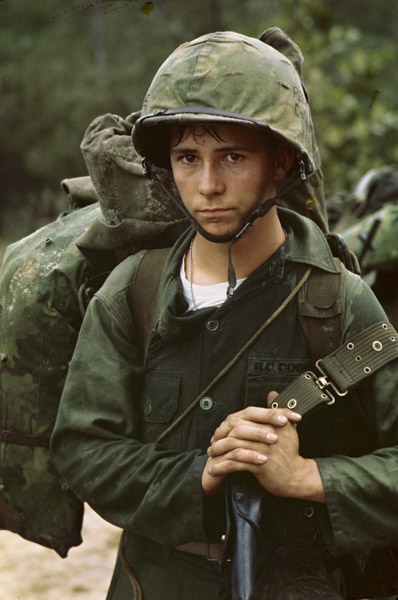 Photograph of a young Marine landing at Danang, Vietnam, 08/03/1965