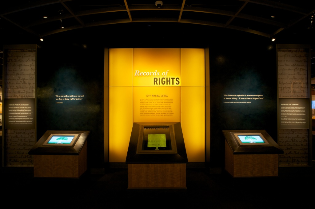 "The 1297 Magna Carta, on loan from David M. Rubenstein, at the entrance of the new ""Records of Rights"" exhibit."