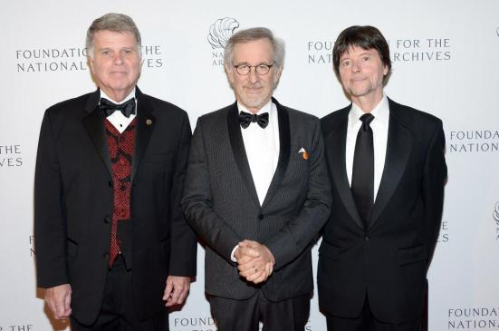 Three men who love history! From left to right: Archivist of the United States David S. Ferriero, director Steven Spielberg, and filmmaker Ken Burns.