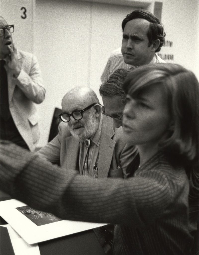 "Original caption reads: ""Visit to the National Archives by the famous American photographer, Ansel Adams, to look at some of his work in the Still Picture Branch, September 10, 1979″ (64-MISC-1-5)"