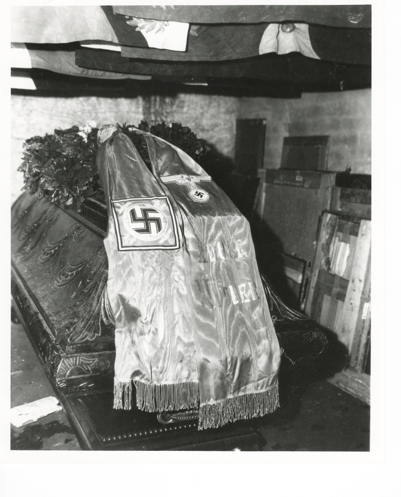 Coffin of Frederick the Great was found draped with a Nazi flag  in the Berterode Mine, May 1, 1945 (National Archives).