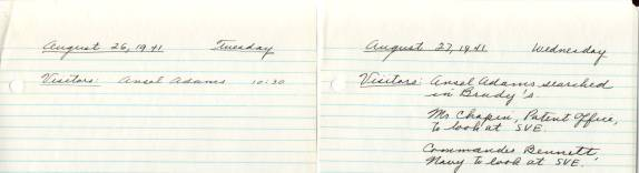 "From notebook ""Uncurrent 1941-1942 Visitors Notes Etc""  in Record Group 64, P entry 32"