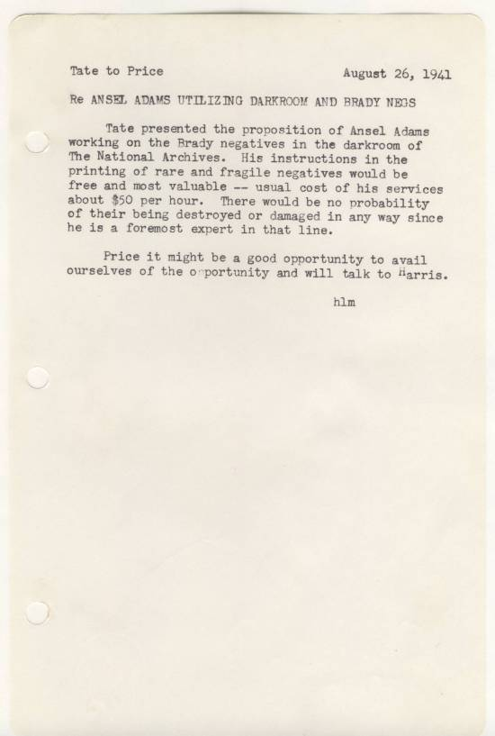 """From notebook """"1942-43 Office Notes and Daily Log, Part 1""""  in Record Group 64, P entry 32"""