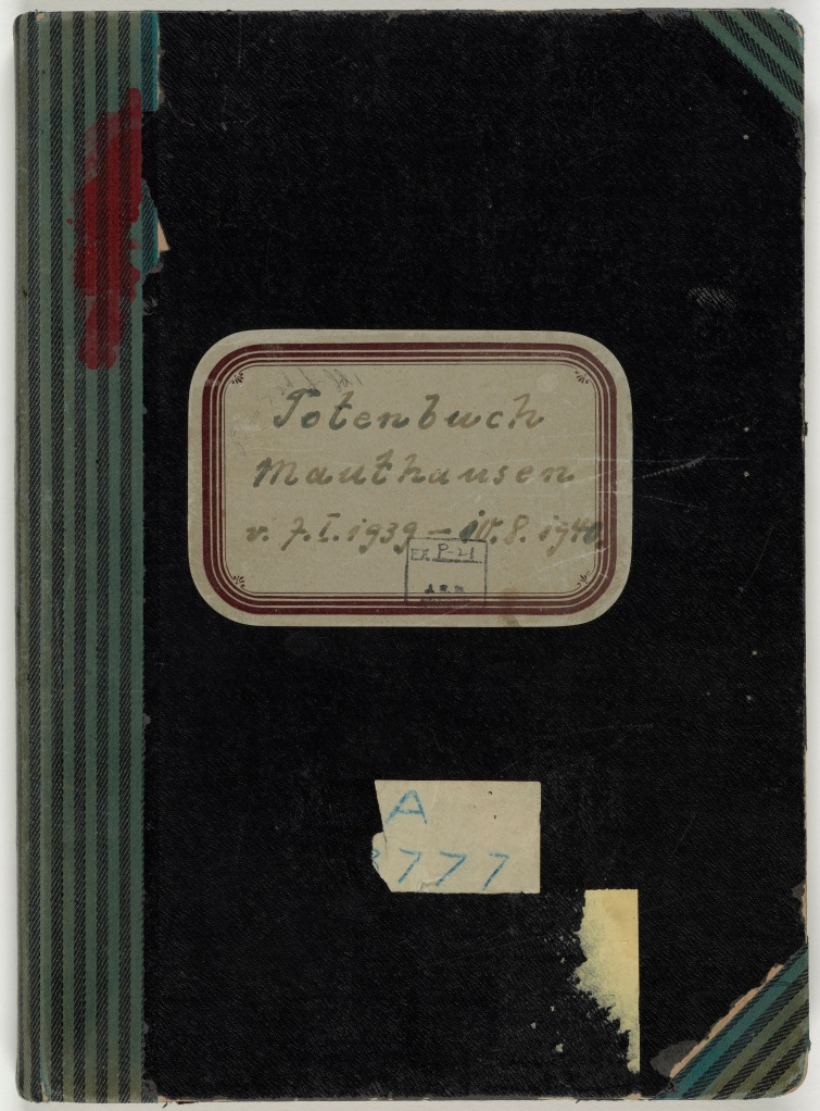 The front cover of the first volume of the Mauthausen death books. National Archives.