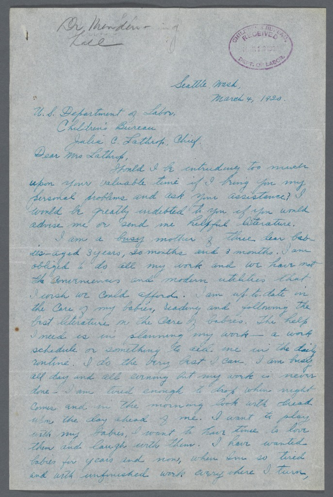 Page one of a letter from Mrs. Neil Williams to Julia Lathrop of the Children's Bureau, 1920. National Archives, Records of the Children's Bureau