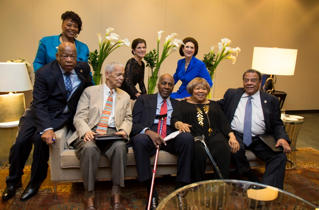 "Veteran civil rights leaders and others got together. Front row, from left: U.S. Representative John Lewis of Georgia, NAACP President Julian Bond, former National Urban League President Vernon Jordan, singer Mavis Staples (who led everyone in singing ""We Shall Overcome,"" and former U.S. Ambassador to the United Nations Andrew Young. Back row, from left: Dr. Bernice King, daughter of Rev. Martin Luther King Jr., and Luci Baines Johnson and Lynda Johnson Robb, daughters of President Lyndon Johnson. (LBJ Library photo by David Hume Kennerly)"