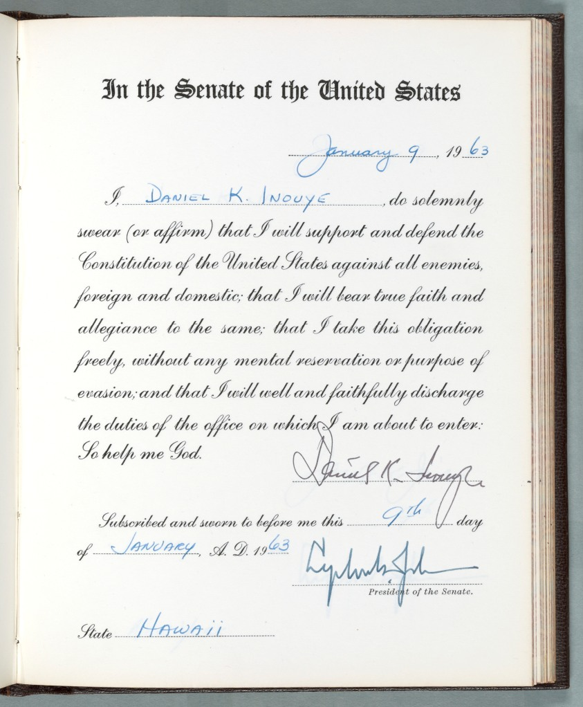 Oath of Office for Daniel K. Inouye, January 9, 1963. Records of the U.S. Senate, National Archives. National Archives Identifier: 7741395
