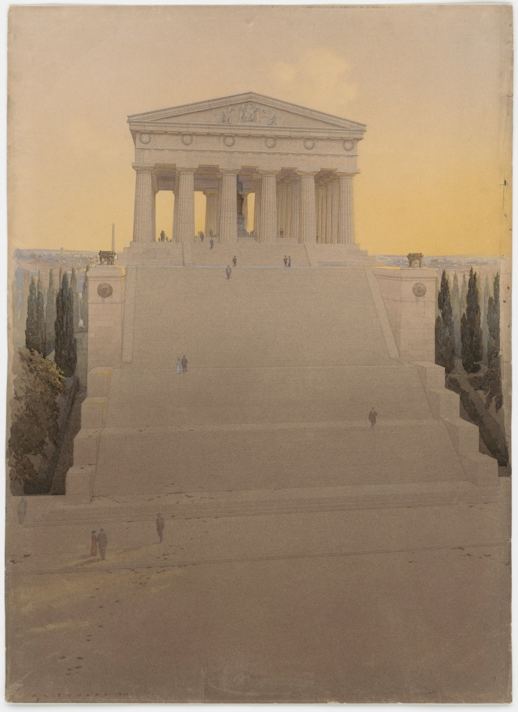 John Russell Pope's Competition Proposal for a Monument to Abraham Lincoln on Meridian Hill, Detail from North, 1912. (National Archives Identifier 6087981)