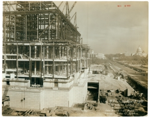 View of the construction of the National Archives Building, November 2, 1933 Records of the Public Building Service National Archives, Washington, DC